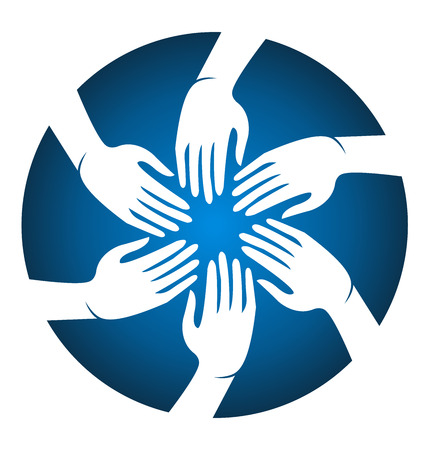 join: Hands meeting people blue  icon vector image