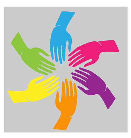 Teamwork hands colorful cultural people icon vector Illustration