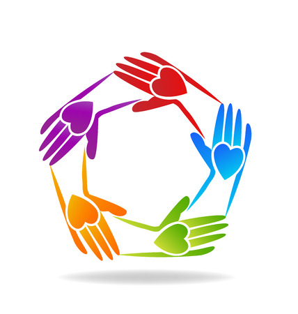 Vector of teamwork hands people icon Çizim