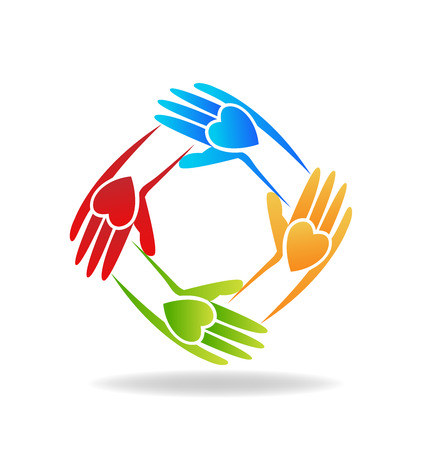 multi cultural: Vector of teamwork hands people icon Illustration