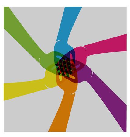 Travail d'équipe remet les gens logo union vecteur Logo