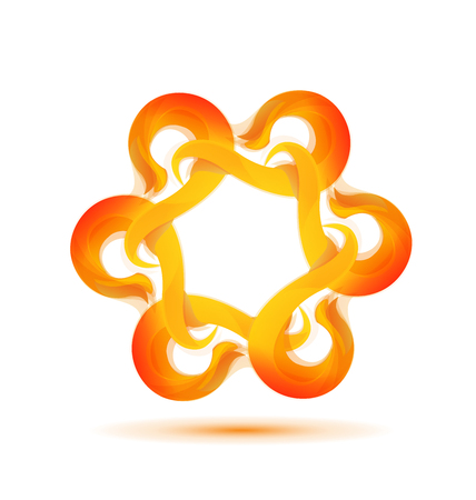 webtemplate: Fire flames vector hexagonal shape Illustration