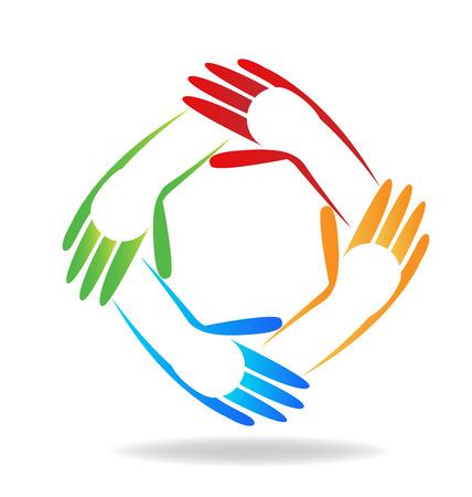 Vector of teamwork children hands people icon