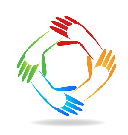 free image: Vector of teamwork children hands people icon