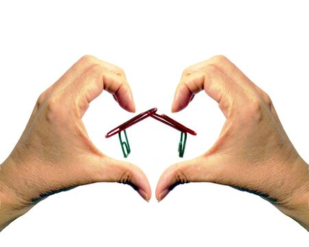love image: Love sweet home with hands heart shape isolated background image