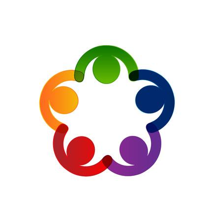 la union hace la fuerza: la gente del trabajo en equipo concepto de la unión diseño del logotipo del vector Vectores