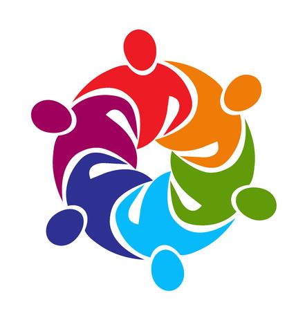 la union hace la fuerza: La gente de negocios reunión Trabajo en equipo una imagen vectorial logo abrazo en