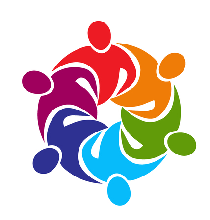 sports event: Teamwork meeting business people in a hug logo vector image
