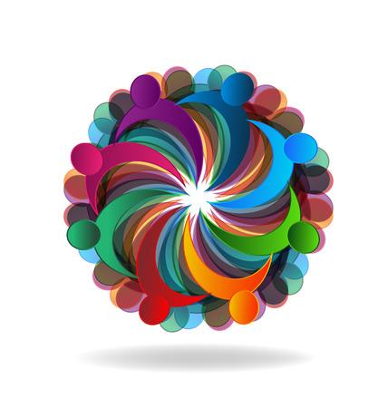 circle flower: Teamwork meeting business people in a hug logo vector image