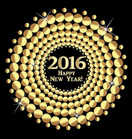 glistening: Happy New Year 2016 vector gold balls design background Illustration