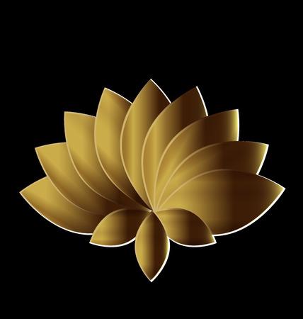 gold circle: Lotus symbol gold flower logo art