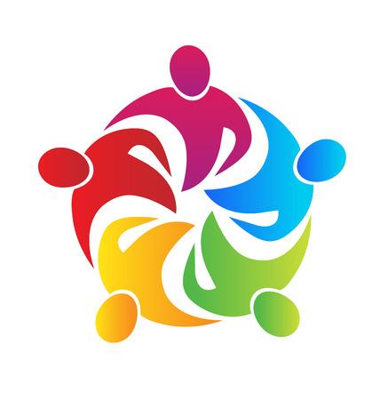 personas abrazadas: La gente de negocios reunión Trabajo en equipo una imagen vectorial logo abrazo en