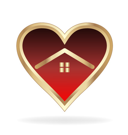 modern house: Gold house in heart love shape  icon vector design