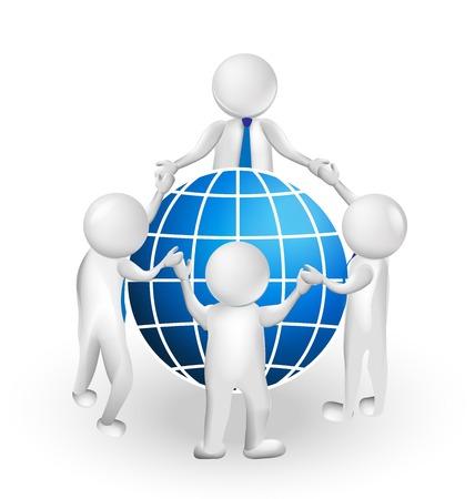 3D teamwork meeting people around world vector design Illustration