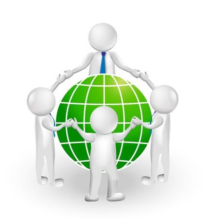 3D logo teamwork meeting people around world vector design
