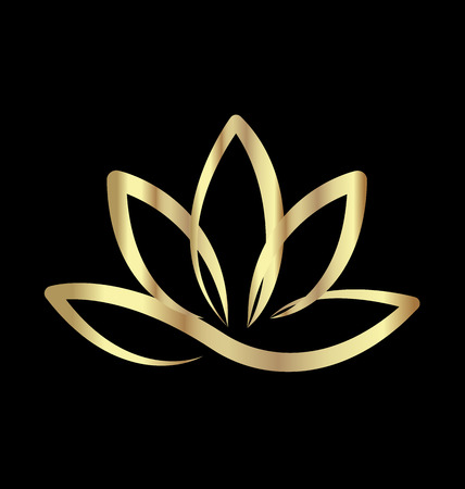 Gold lotus logo vector Çizim