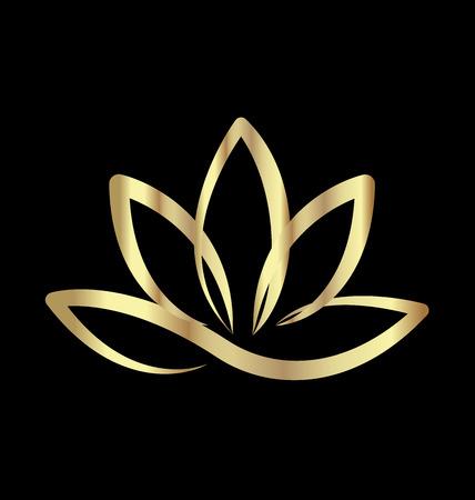 Gold lotus logo vector Illustration