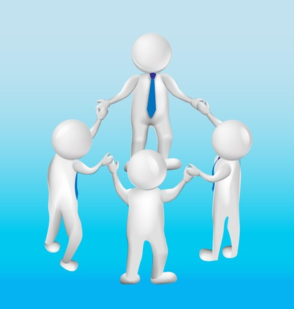 3D logo teamwork leader meeting people vector design web template Ilustracja