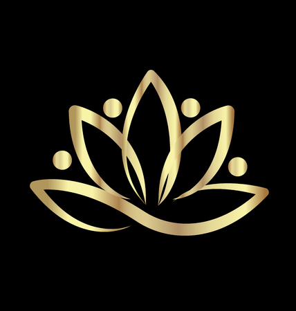 meditation woman: Gold lotus yoga logo vector