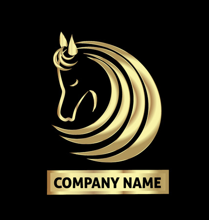 draft horse: Gold horse logo identity business card vector design