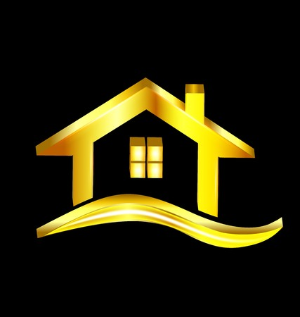 logotipo de construccion: Logotipo de la casa de oro de diseño simbolo