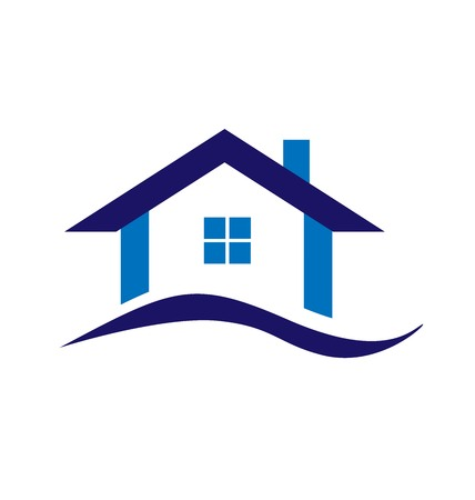 houses on water: Real estate blue house logo business design