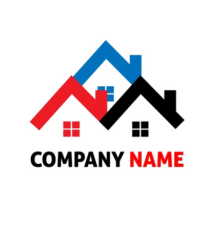 real people: Houses real estate logo vector design Illustration