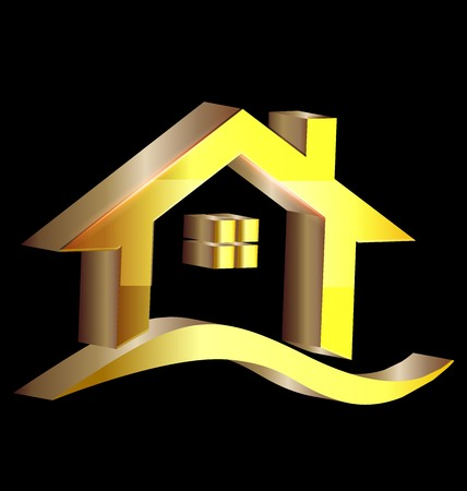 gold house: 3D gold house logo vector image Illustration