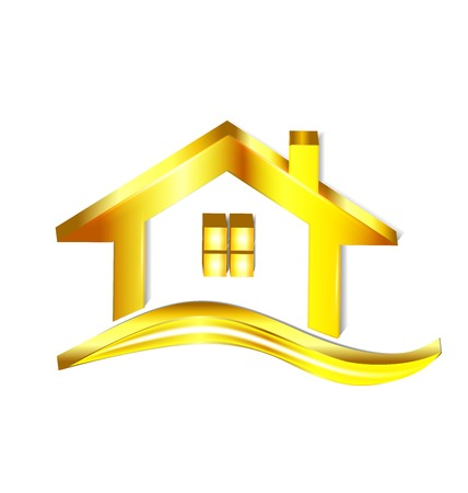 rent house: Gold house logo vector symbol design