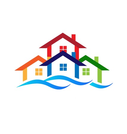 Real estate group of  houses logo business design