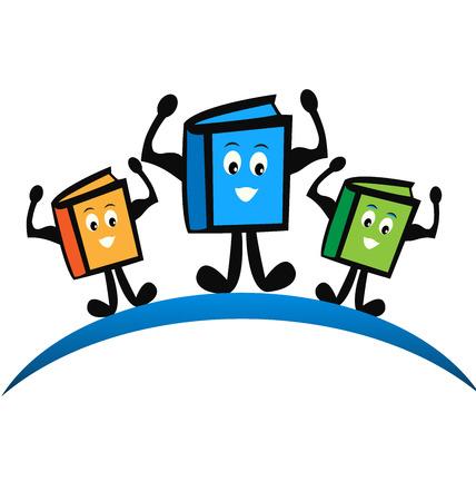 hardback: Cartoon school books vector icon card