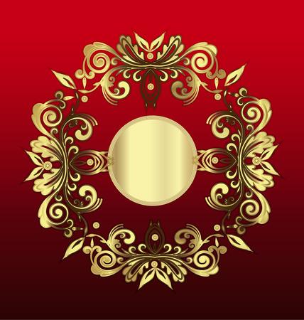gold floral: Vintage of gold floral ornament vector background