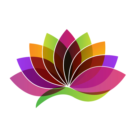 massage symbol: Lotus Flower identity card logo vector Illustration