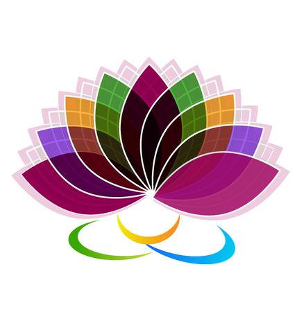 balance rainbow colors: Lotus Flower identity card logo vector Illustration