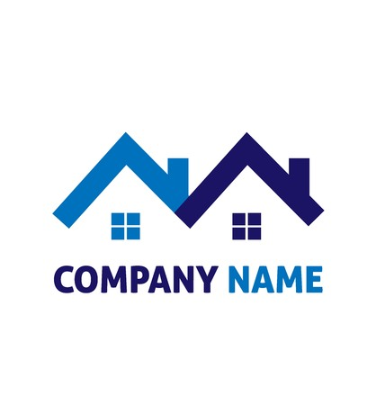 houses: Blue houses real estate ID card vector