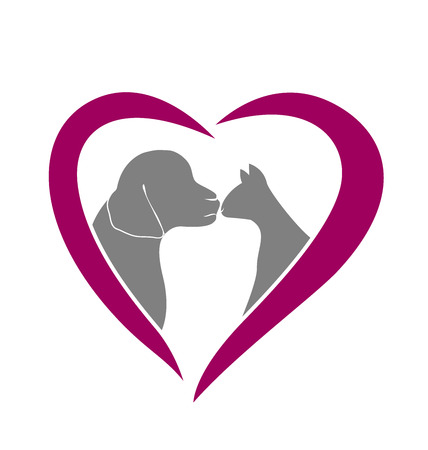 dog ears: Love cat and dog silhouettes logo vector card design