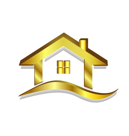 red wave: Gold house logo vector symbol design