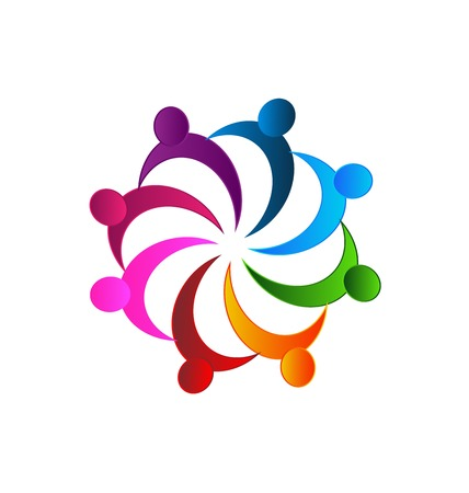 Teamwork meeting business people in a hug logo vector image
