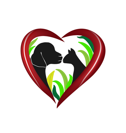 Vector cat and dog heart love logo design 向量圖像