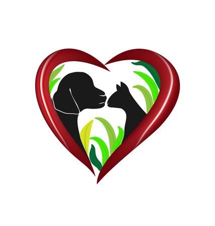 toy terrier: Vector cat and dog heart love logo design Illustration