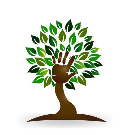 vida saludable: Árbol familias ayuda mano símbolo vector logo Vectores