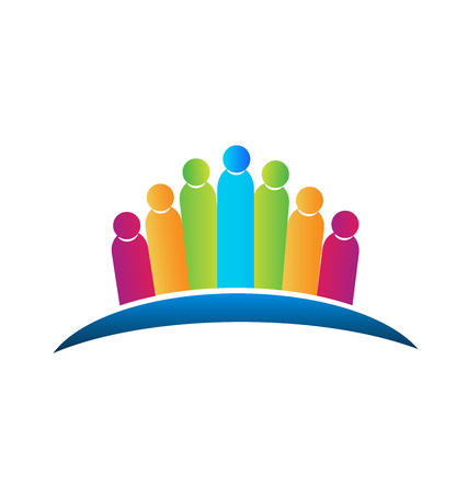 Teamwork people hugging concept of family logo vector icon Stock Illustratie