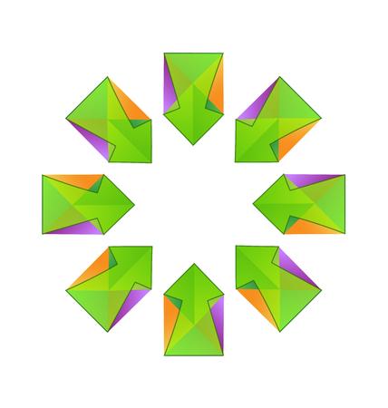 green arrows: Vector green arrows fractal logo design. Illustration