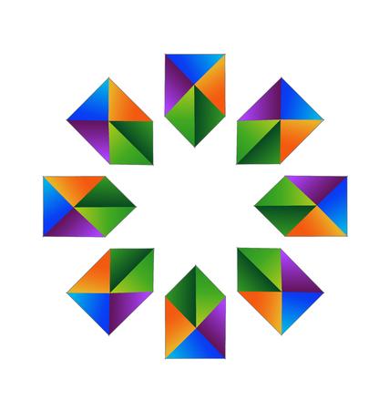in common: Vector blue arrows fractal logo design.