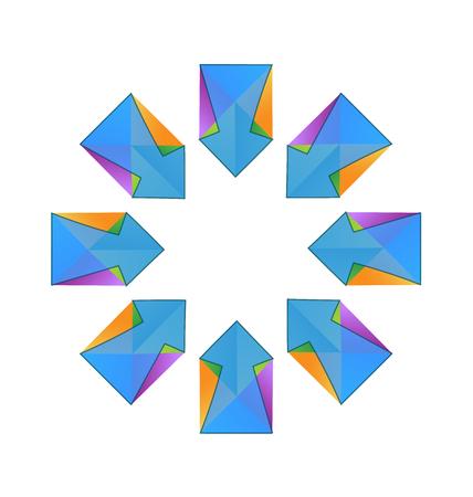 Vector blue arrows fractal logo design.