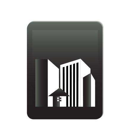 townhouses: Buildings offices real estate  Illustration