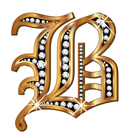 upper school: B gold and diamond bling old vintage letter