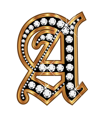 english culture: A gold and diamond bling old vintage letter