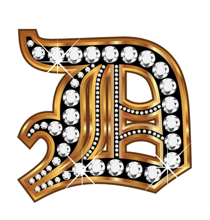upper school: D gold and diamond bling old vintage letter