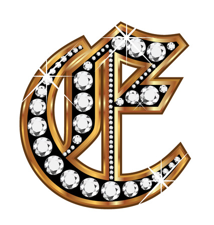 english culture: E gold and diamond bling old vintage letter